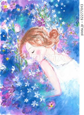 ブルーの花に囲まれた女の子 62277043