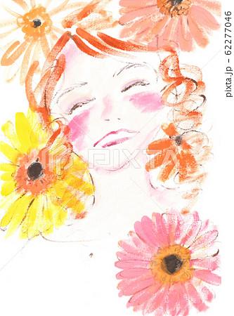 ガーベラの花と女の子 62277046