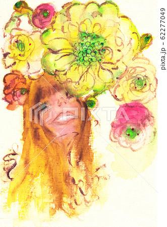 スカビオサとラナンキュラスの花に囲まれた女の子 62277049