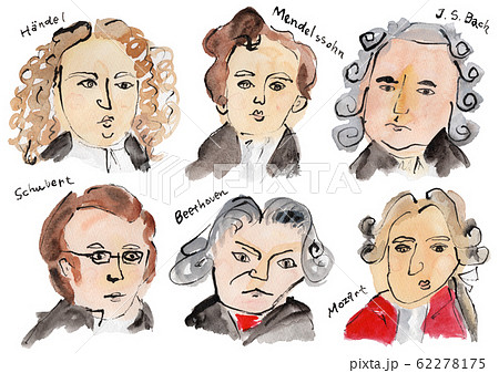 作曲家 (ヘンデル、メンデルスゾーン、バッハ、シューベルト、ベートーベン、モーツァルト) 水彩 62278175