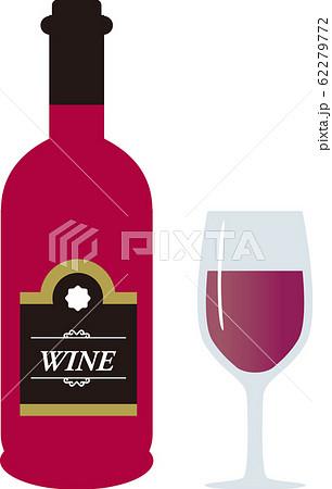 ワインボトルとグラス 62279772