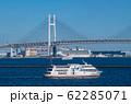 日本の横浜都市景観 新型コロナウイルス・再着岸したクルーズ船。デッキには多くの人影が=9日午後 62285071