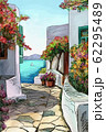 Drawing to the greek town - illustration 62295489