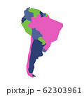 Very simplified infographical political map of South America. Simple geometric vector illustration 62303961