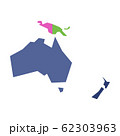 Very simplified infographical political map of Australia and Oceania. Simple geometric vector illustration 62303963