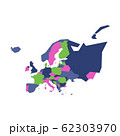 Very simplified infographical political map of Europe. Simple geometric vector illustration 62303970