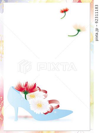 ガーベラのカラフルな花とガラスの靴のイラスト縦スタイル背景素材 62311183