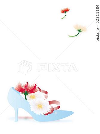 ガーベラのカラフルな花とガラスの靴のイラスト縦スタイルホワイトバック背景素材 62311184