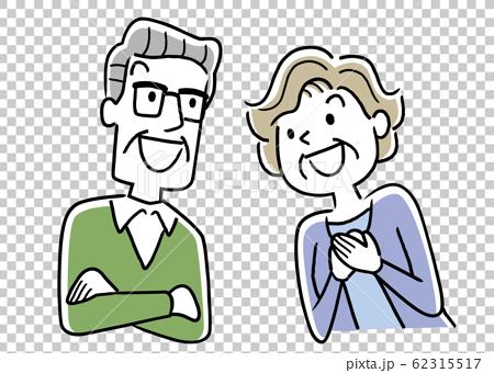 イラスト素材:シニア夫婦、笑顔、眺める 62315517