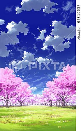 【縦PAN用】青空と雲02と桜05草原04 62319657