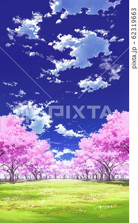 【縦PAN用】青空と雲01と桜05草原04 62319663