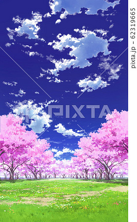 【縦PAN用】青空と雲01と桜05草原02 62319665