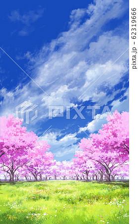 【縦PAN用】青空と雲05と桜05草原05 62319666