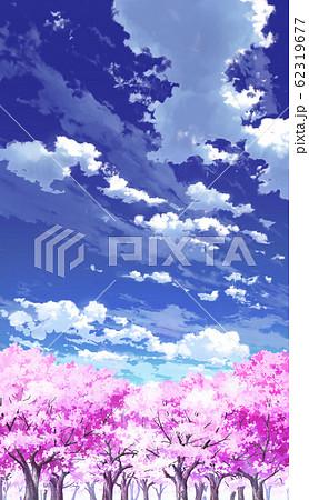 【縦PAN用】青空と雲03と桜06 62319677