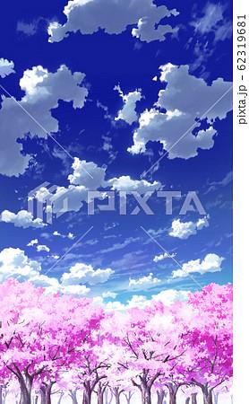 【縦PAN用】青空と雲02と桜06 62319681