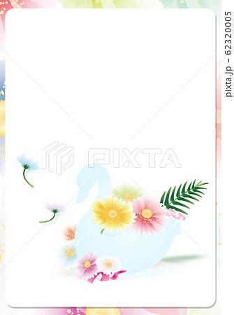 スワンの器にガーベラのカラフルな花のイラスト縦スタイル背景素材 62320005