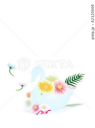スワンの器にガーベラのカラフルな花のイラスト縦スタイルホワイト背景素材 62320006