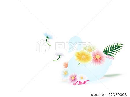 スワンの器にガーベラのカラフルな花のイラスト横スタイルホワイト背景素材 62320008