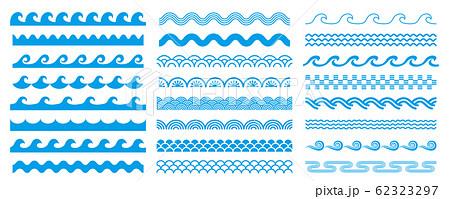様々な形状の波ラインセット 62323297