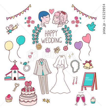 結婚式 セット イラスト 素材 アイコン 手書き風 かわいい 62329954