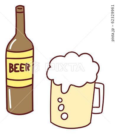 ビール ビール瓶 イラスト 素材 アイコン 手書き風 かわいい 62329961