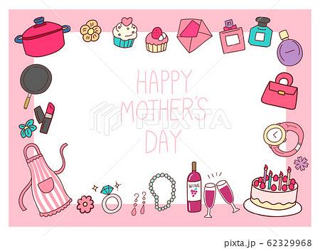 女性 ギフト 母の日 イラスト 素材 フレーム デザイン 手書き風 かわいい 62329968
