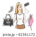 フリマで不用品を売る女性 大人系 62361172