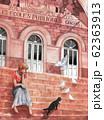 水彩画 フランスの街と黒猫 62363913