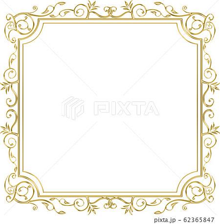 金属の質感のゴールドのバロック調のオーナメント・飾り罫・飾り囲み|金色・正方形 62365847