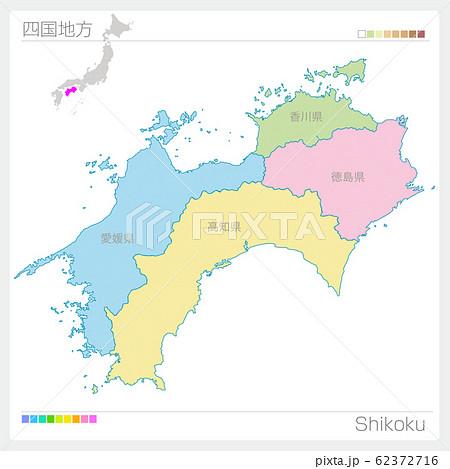 四国地方の地図・Shikoku(色分け) 62372716