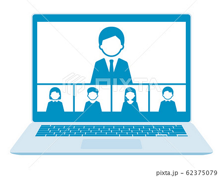 ノートPCでウェブミーティング 5人 青 62375079
