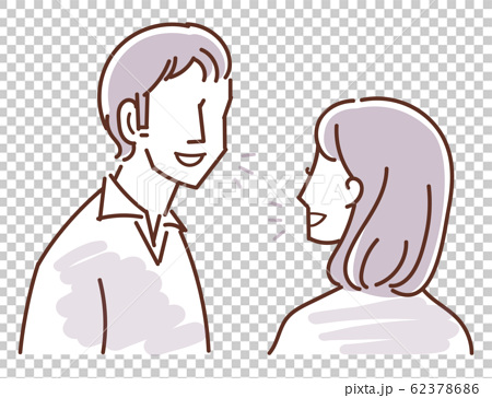Illustration (conversation) line art and sepia of two men and women 62378686