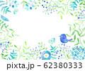 小鳥と植物_水彩フレーム 62380333