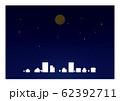 夜空 街と月 背景素材 月食 62392711