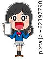 スマホ イラスト素材 女子高生 かわいい 制服 アニメ 62397790