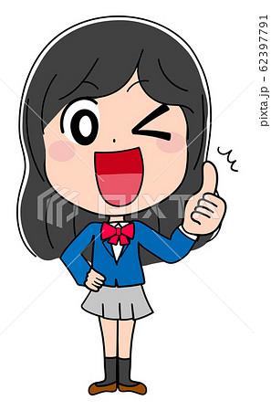 グッド サムズアップ イラスト素材 女子高生 かわいい 制服 アニメ 62397791
