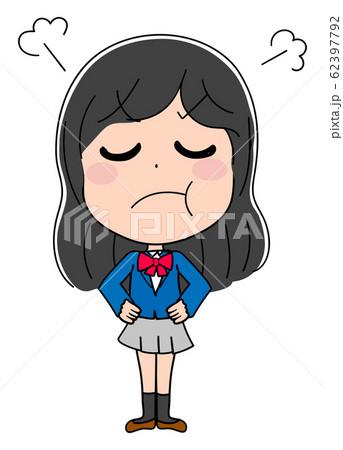怒る イラスト素材 女子高生 かわいい 制服 アニメ 62397792
