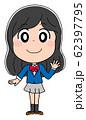 全身 イラスト素材 女子高生 かわいい 制服 アニメ 62397795