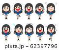 セット イラスト素材 女子高生 かわいい 制服 アニメ 62397796