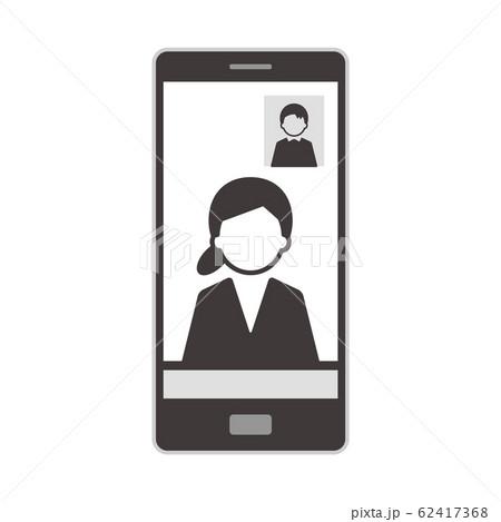 ウェブミーティング スマートフォン イラスト 単体 モノクロ 62417368