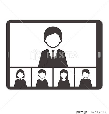 ウェブミーティング タブレット イラスト 単体 モノクロ 62417375