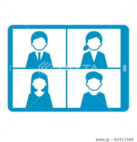 ウェブミーティング タブレット イラスト 単体 青 62417380