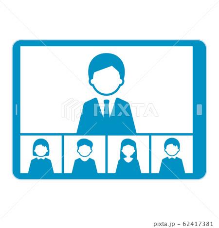 ウェブミーティング タブレット イラスト 単体 青 62417381