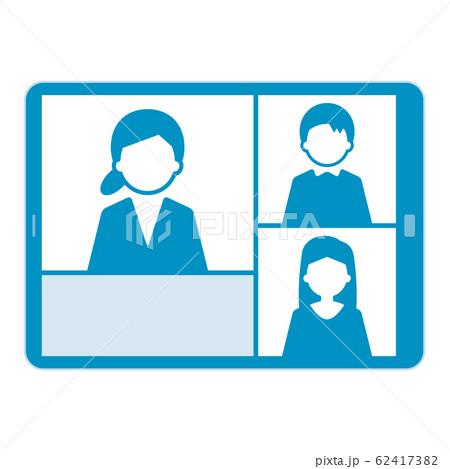 ウェブミーティング タブレット イラスト 単体 青 62417382