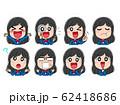 イラスト素材 女子高生 学生 アイコン 表情 ポーズ かわいい キャラクター 62418686