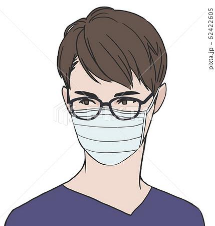 マスクをしたイケメンのイラスト素材