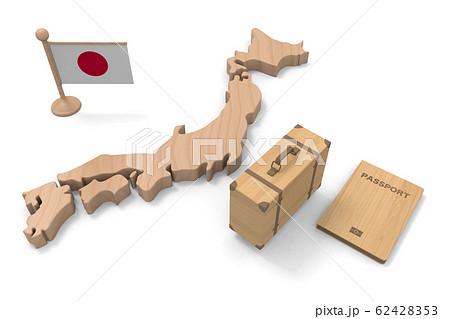 パスポートと鞄を持って、日本へ行く。木の質感。3Dイラスト 62428353