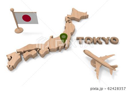 東京に行く。旅客機で日本へ向かう。3Dイラスト 62428357