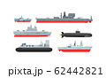 Naval Combat Ships Collection, Military Boat, Frigate, Battleship and Submarine Vector Illustration 62442821
