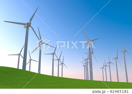 数多くの風力タービンが回転する。自然の力で稼働する。3Dイラスト 62465181
